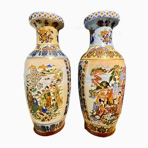 Chinese Vases Depicting Meeting in the Garden, Set of 2