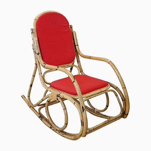 Vintage Bamboo Rocking Chair with Red Fabric, 1980s