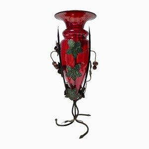 Rubinrote Murano Glas Vase mit Eisen Weinreben Umberto Bellotto zugeschrieben