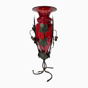 Ruby Red Murano Glass Vase with Iron Grapevines Attributed to Umberto Bellotto
