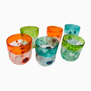 Vintage Italian Murano Glass Vanitoso Water Glasses by Maryana Iskra for Ribes Studio, Set of 6