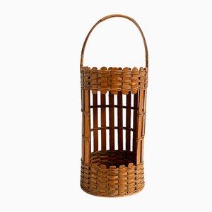 Vintage Handmade Wood & Wicker Open Front Storage Basket, 1970s
