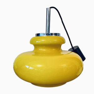 Vintage Glass Pendant Lamp in Yellow from Honsel, 1960s or 1970s