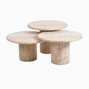 Round Cream Travertine Coffee Tables, Italy, 1970s, Set of 3