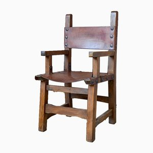 Brutalist Wood and Leather Armchair