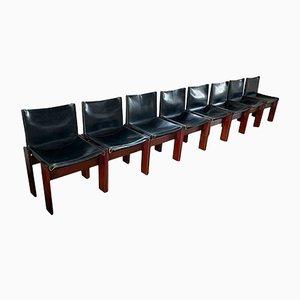 Monk Esszimmerstühle aus schwarzem Leder & Nussholz von Afra und Tobia Scarpa für Molteni, 1973, 8er Set