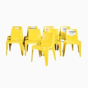 Gelbe Mid-Century Stühle von Helmut Bätzner für Bofinger, 9er Set