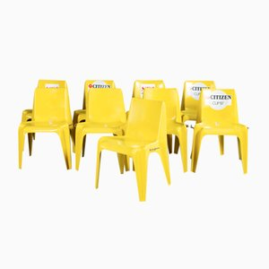 Mid-Century Yellow Chairs by Helmut Bätzner for Bofinger, Set of 9