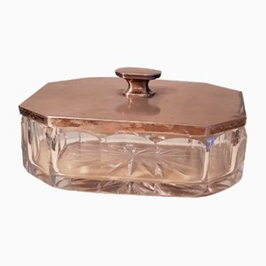 Art Deco Silver-Plated Crystal Glass Butter Dish