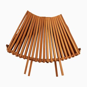 Folding Wooden Fruit Bowl with Bamboo Handle, 1960s