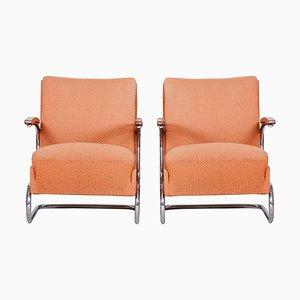 Bauhaus Armlehnstühle mit verchromtem Rohrgestell von Mücke Melder, 1930er, 2er Set