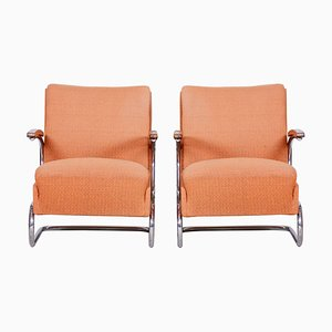 Bauhaus Tubular Chrome Armchairs by Mücke Melder, 1930s, Set of 2