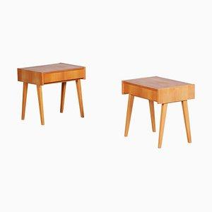 Ash Brown Bedside Tables, 1950s, Set of 2