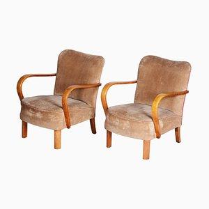Brown Czech Art Deco Beech Armchairs, 1930s, Set of 2