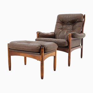 Leather Lounge Chair and Stool from Göte Möbler, Sweden, 1970s, Set of 2