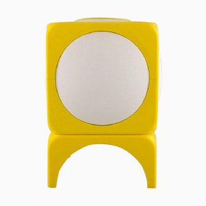 Scandinavian Table Lamp in White and Yellow Plastic, 1970s