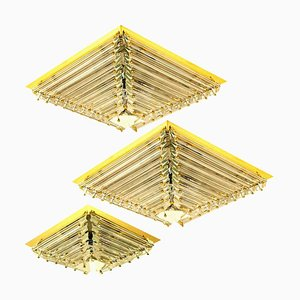 Gold-Plated Piramide Flush Mounts from Venini, Italy, Set of 3