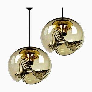 Rauchglas Leuchten von Koch & Lowy für Peill & Putzler, 1970er, 2er Set
