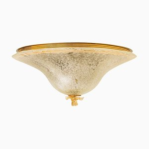 Deckenlampe aus klarem und goldbraunem Muranoglas von Barovier & Toso, Italien