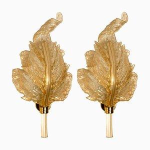 Gold und Murano Glas Wandlampen von Barovier & Toso, Italien, 2er Set