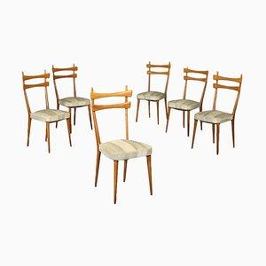 Buchenholz Stühle, Italien, 1950er, 6er Set
