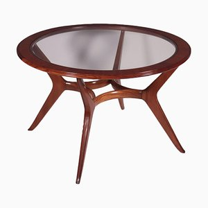 Tisch aus Massivem Mahagoni Furnier und Argentinischem Glas, 1950er