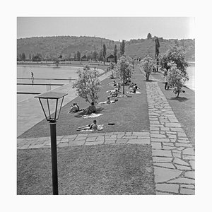 Sonnenanbeter am Ufer des Max Eyth Sees, Stuttgart Deutschland, 1935