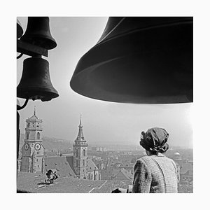 Woman Under the Chimes of City Hall, Stuttgart Germany, 1935