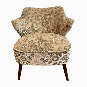 Mid-Century Cocktail Chair with Floral Pattern