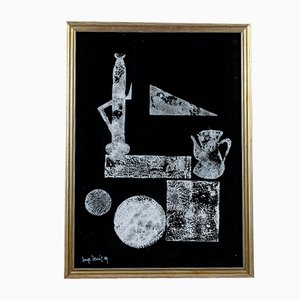 Abstract Picture, Black Cardboard and White Tint, Italy, 1969