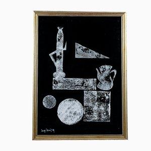 Abstraktes Bild, schwarzer Karton und weiße Tönung, Italien, 1969