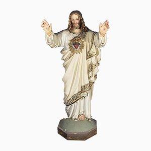 Jesus Holzstatue mit Heiligem Segen Herz
