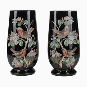 Black Opal Glass Jars with Hand-Painted Birds, France, 19th Century, Set of 2