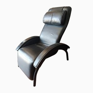 Black Leatherette Black Reclining Chair from GIOVANARDI, Italy, 1980s