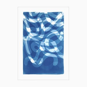 Falling Swirls with Organic Curvy Layers in Blue Tones, Handmade Cyanotype on Paper, 2021