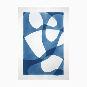 Photogram of Ghostly Pool Shapes, Blue and White Minimal Cyanotype on Paper, 2021