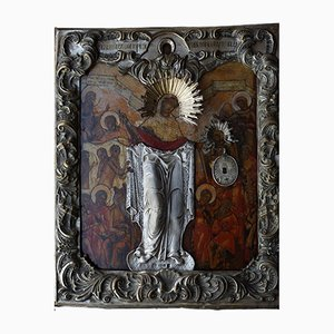 Ancient Icon of the Mother of God Joy of All Who Sorrow in a Baroque Silver Setting