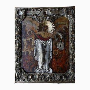 Antike Ikone der Muttergottes Joy of All Who Kummer in einer barocken Silberfassung