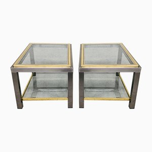 Hollywood Regency Two-Tier Sofa End Tables, 1970s, Set of 2
