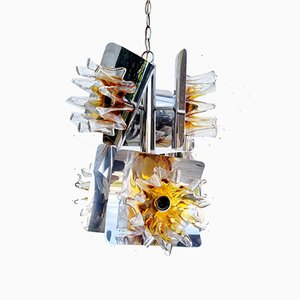Mid-Century Amber Murano Glass and Chrome Pendant Lamp by Toni Zuccheri for Mazzega, Italy, 1970s