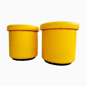 Mid-Century Yellow Leather Poufs, Italy, 1980s, Set of 2