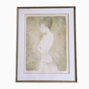 Lithograph, Naked Lady with Skirt, Bernard Chang, 1970s