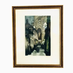 Stone, Lithograph, Going to Midnight Christmas Mass, 1970s, Belgium