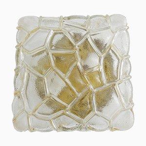Vintage Wand- oder Deckenlampe aus strukturiertem bernsteinfarbenem Glas, 1970er