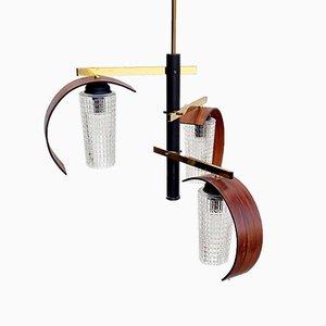 Mid-Century Modern Scandinavian Style 3-Arm Chandelier in Teak & Glass, Italy, 1960s