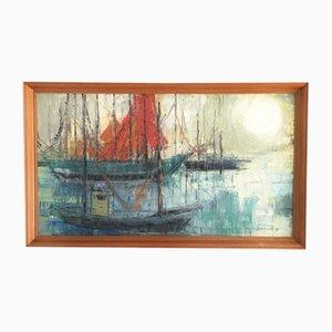 Painting, Marina Boating Scene, 1960s, Belgium