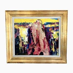 Abstrakte Frauen Komposition, Gemälde auf Leinwand, Paul Daxhelet, Belgien, 1960er