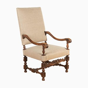 French Louis XIV Style Walnut Armchair