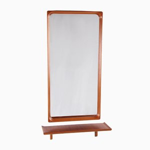 Swedish Teak Wall Mirror with Matching Shelf from Markaryd Sweden, 1950s, Set of 2