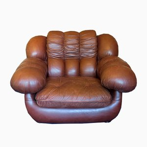 Mid-Century Italian Leather Lounge Chair, 1970s